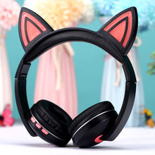 Cat Ear Headphones Wireless Bluetooth 5.0 Headset with LED Light Foldable Stereo Earphone with Mic for PC Computer Mobile Phone(China)