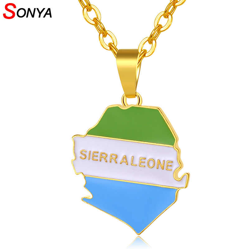 SONYA Sierra Leone Map And Flag Pendant Necklaces For Women/Men Gold Color Sierra Leonean Maps Jewelry Bijoux Femme