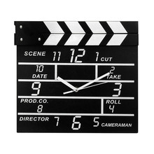 ISHOWTIENDA   Creative Cinema Movie Slate Analog Wall Clock Clapper Film Modern Home Livingroom Bed Room Hanging Clock Black