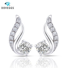 DovEggs 1.4CTW 4mm H Color Round Moissanite Sterling Solid 925 Silver Stud Earrings Push Back for Women  Push Back