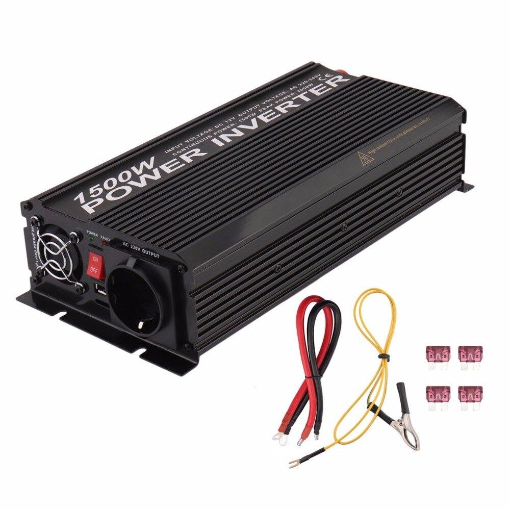 12V DC To 230V AC Modified Sine Wave Converter Y81500U 1500W Car Inverter Vehicle Voltage Transformer EU Plug12V DC To 230V AC Modified Sine Wave Converter Y81500U 1500W Car Inverter Vehicle Voltage Transformer EU Plug
