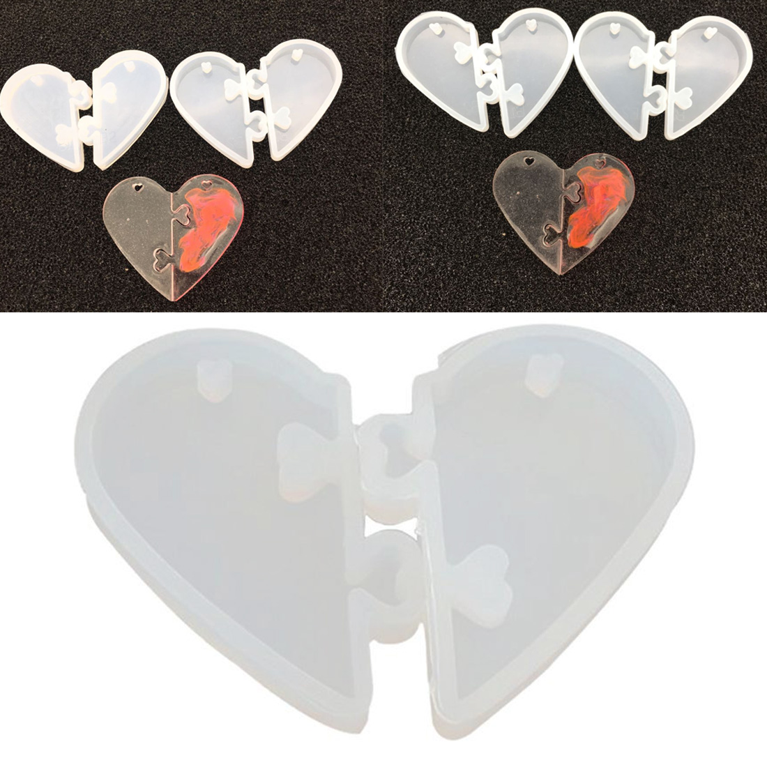 2Pcs Heart Locks For Lovers Pendant Liquid Silicone Mold DIY Epoxy Resin Mould Jewelry Tools Jewellery Tool
