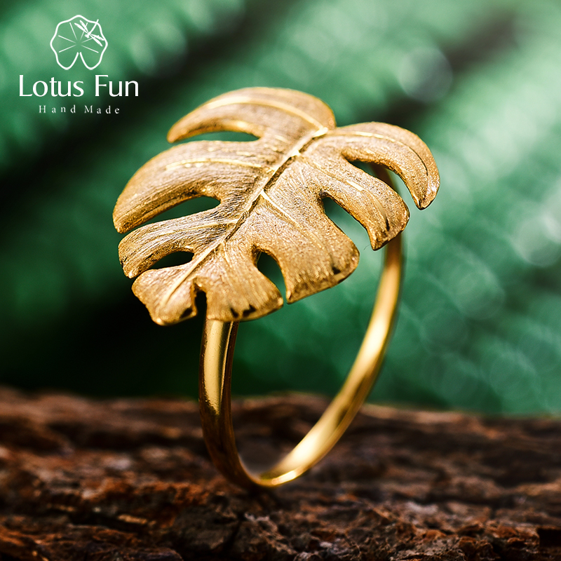 Lotus Fun Real 925 Sterling Silver Natural Designer Fine Jewelry 18K Gold Monstera Leaves Ring Adjustable Rings For Women Bijoux