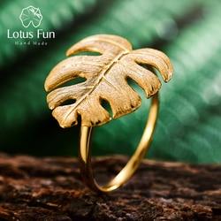 Lotus Fun prawdziwe 925 srebro naturalne projektant biżuterii 18K złote liście monstery pierścień regulowane pierścienie dla kobiet Bijoux