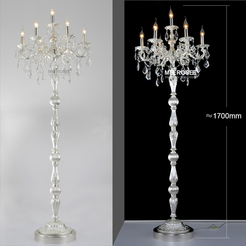 buy modern crystal floor lamp lustres floor stand light fixture cristal silver candelabra standing lamp high quality lighting from reliable