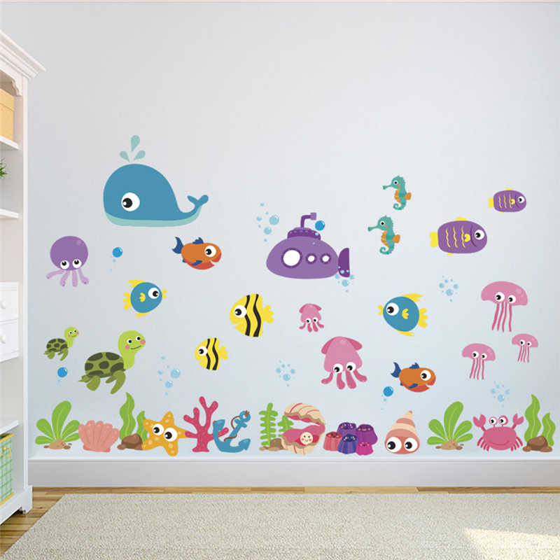 Underwater Ocean World Wall Stickers Kids Room Decorative Poster Pvc Backdrop