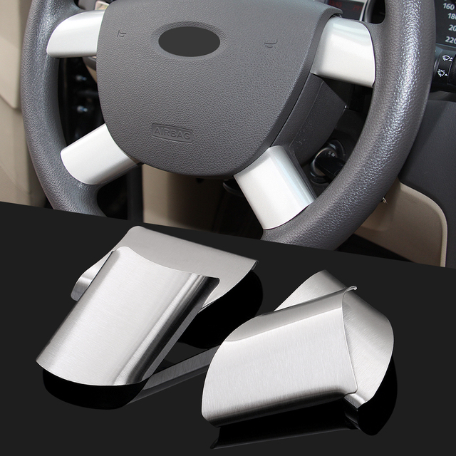 For Ford Focus 2 2005-2013 Interior Steering Wheel Decorative Frame Trims Stainless Steel Automobile Parts 4pcs