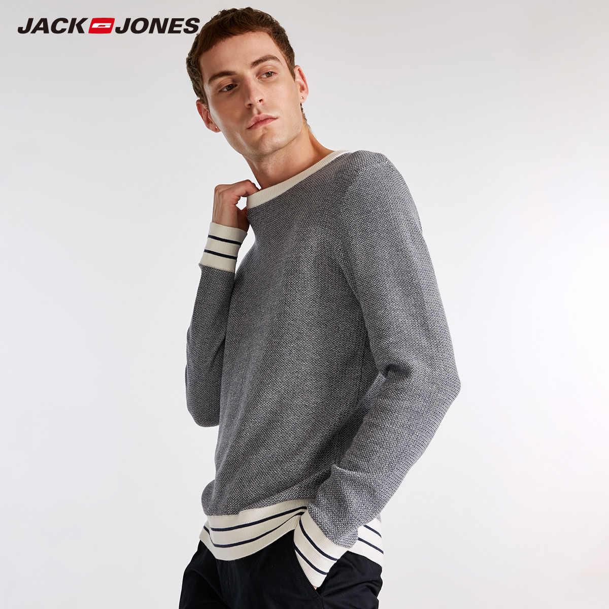 JackJones Männer der Herbst 100% Baumwolle Pullover Gestrickte Top Casual Pullover männer Slim Fit Marke Gestrickte Pullover 218324509