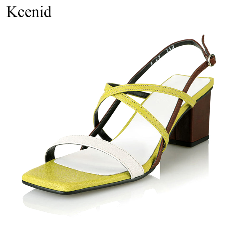 Kcenid Open toe narrow band gladiator sandals buckle strap square high heels fashion shoes woman genuine