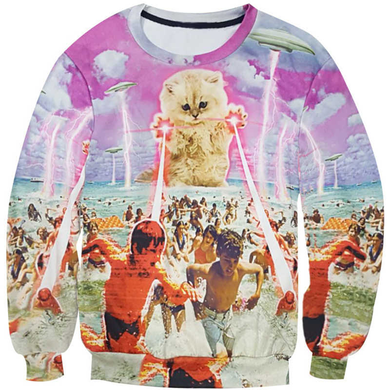 Kitten laser Cats 3D printed Sweatshirt lightning beach graphic O-Neck Hoodies space gal ...
