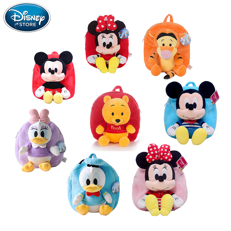 все цены на Disney Origina Backpack Schoolbag Winnie The Pooh Mickey Mouse Minnie Doll Lilo and Stitch 27cm Cute Girl Children Boy Schoolbag