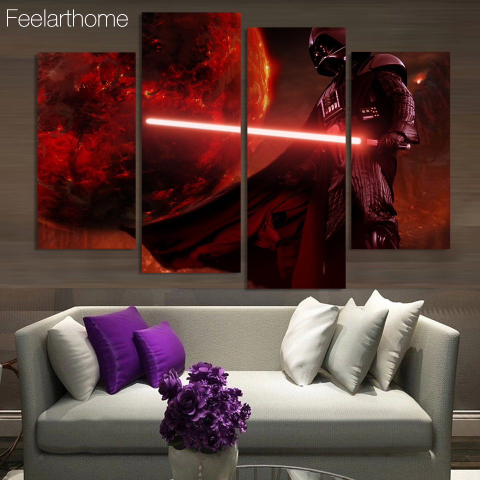 Canvas Painting 4 Panels Canvas Art Star Wars Darth Vader Poster Home Decor Wall Pictures for Living Room Free Shipping XA1550A