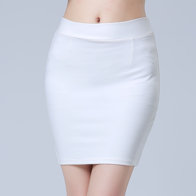 Women Black White Red Work Mini Skirt Stretch Slim High Waist Pencil Skirt Bodycon Sexy OL Office Formal Skirt Plus Size 4XL