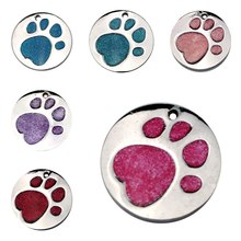 Dog Pet Cute Paw Print ID Tags prevent pet from Dog Identity Card Pet Dog Cat Collar Accessories Decoration(China)