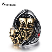 Big Wide Double Skulls Rings Punk Vintage Jewellery Titanium Stainless Steel Ring Men Male Red Stone