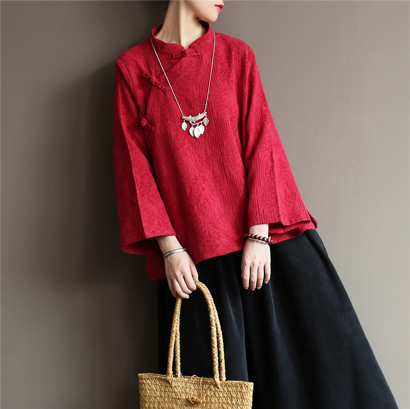 Chinese Style Women Shirts Double Cotton Vintage Blouses Autumn New Stand Nine Sleeve Jacquard Women Shirts Tops