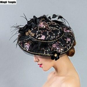 Европейская шляпка невесты Mingli Tengda, винтажная шляпа с вышивкой ручной работы, черная Тиара для банкета и сцены, свадебные аксессуары для вол...
