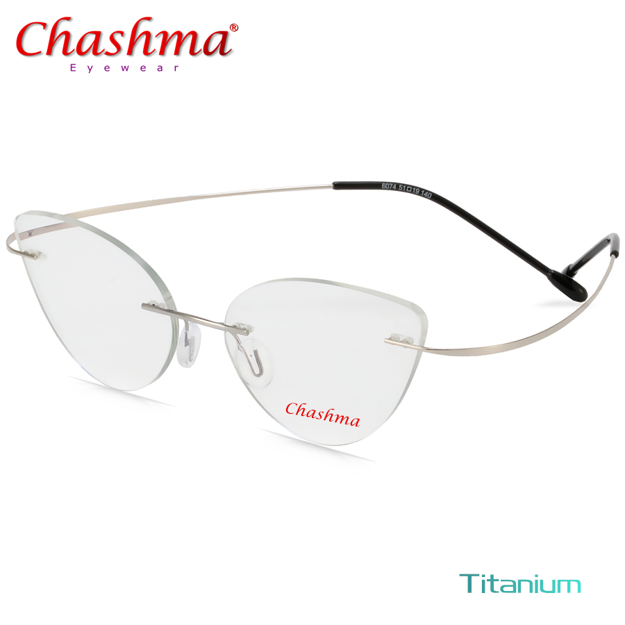 Rimless Glasses Frame Women Titanium Ultralight Eyeglasses Prescription Frameless Cat Eye Screwless Eyewear Myopia Optical Frame