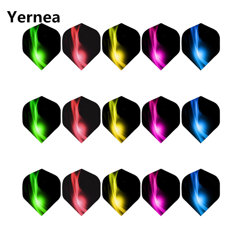 Yernea New Darts Flight 15pcs/5set Professional 2d Dart Flight Color Aurora Tail Dart Accessories Wholesale Darts Entertainment