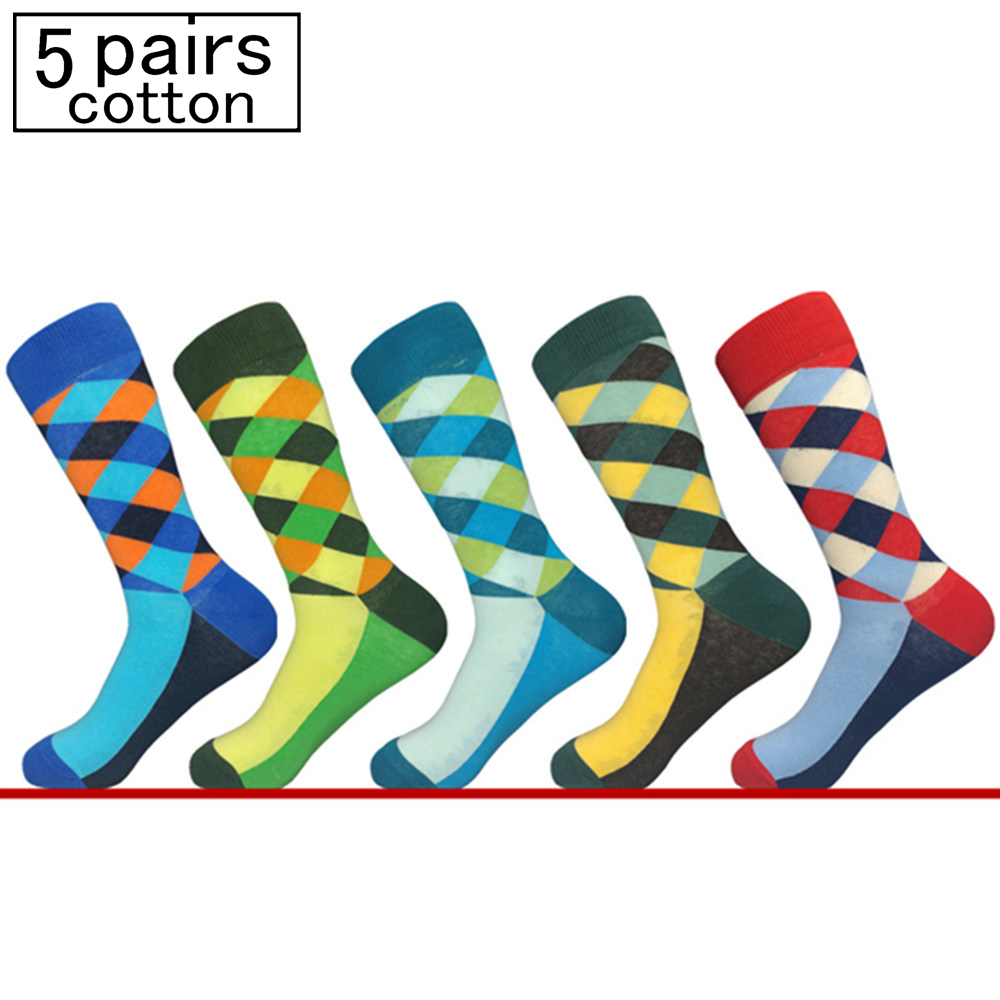 5 pair Mens Funny Colorful Combed Cotton Socks Geometry Style Dress Casual Crew Socks for Man