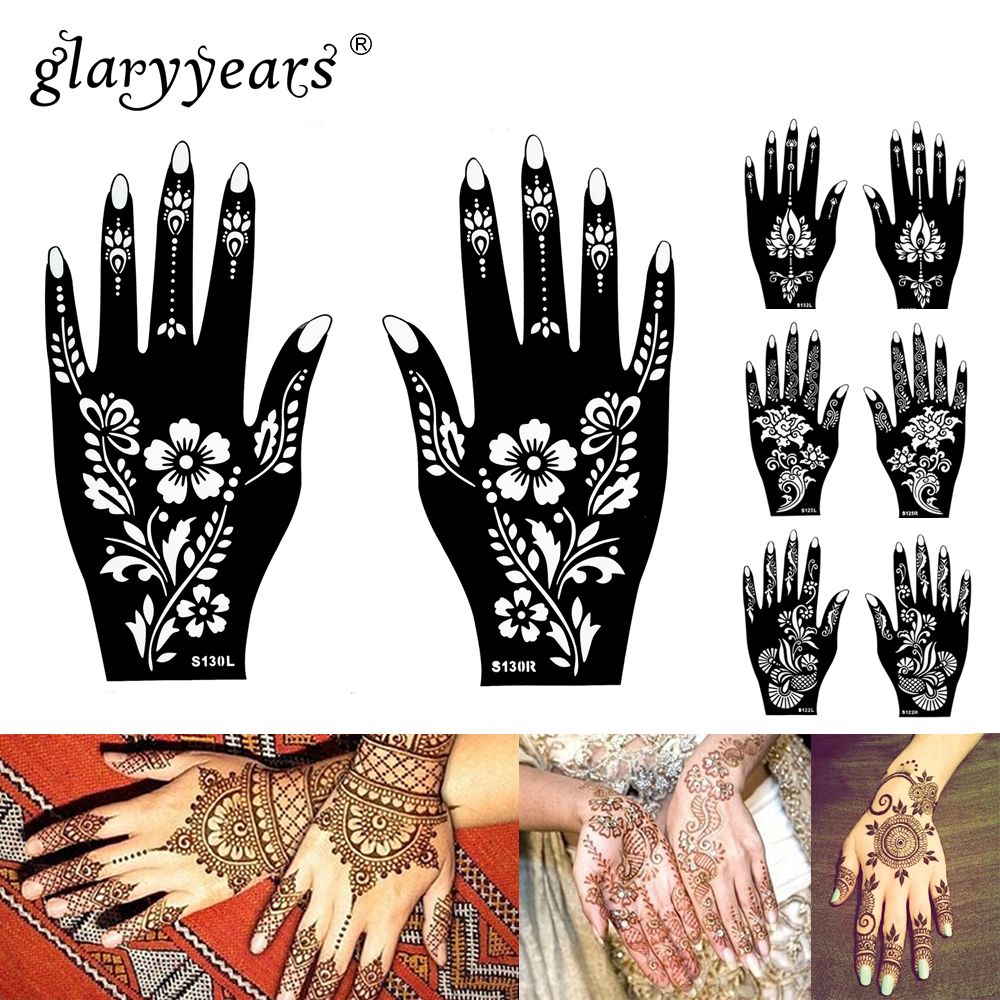 15 Designs 1 Pair Hands Mehndi Henna Stencil Flower Lace Tattoo Airbrush Painting For Women Hands Art Tattoo Stencils Waterproof A197