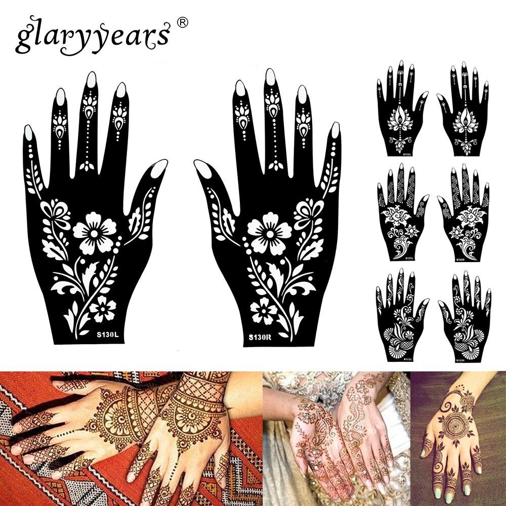 1 84 15 Designs 1 Paire Mains Mehndi Pochoir Au Henné Fleur Dentelle Tatouage Aérographe Peinture Pour Femmes Mains Art Tatouage Pochoirs