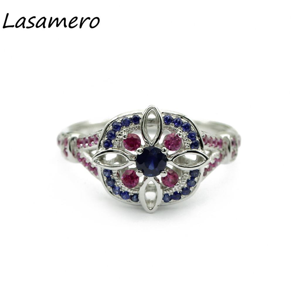 LASAMERO Rings for Women 0.16CT Round Cut Natural Sapphire Rings 925 Silver Engagement Wedding Rings
