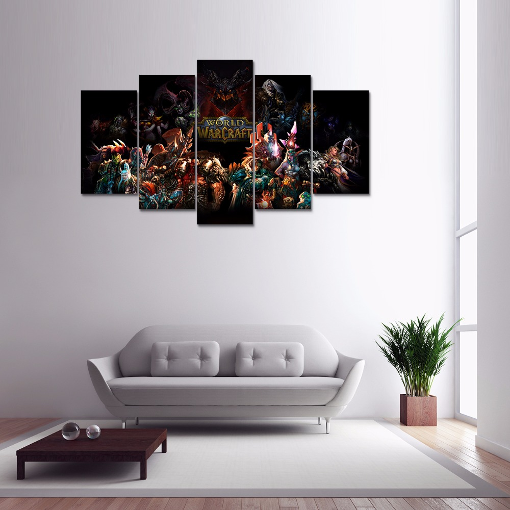 Video Game 5 Panel Hd Printed Canvas Painting World ...