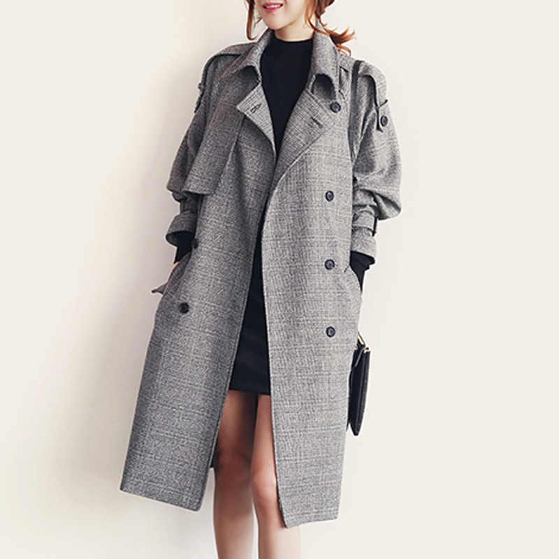 Damskie koreański moda jesień podwójne piersi Plaid długi Trench Coat Casual Sashes Houndstooth szary czek luźny długi płaszcz