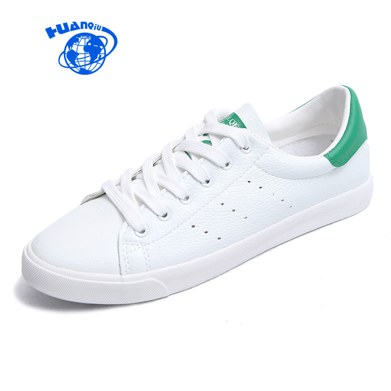 HUANQIU Summer White Shoes for Women 2017 New Fashion Leather Shoes Breathable All Match Classic Style Casual Shoes Size 35-39 m genreal 2017 new women white shoes all match summer breathable leather shoes vulcanized casual shoes candy color lace 35 39