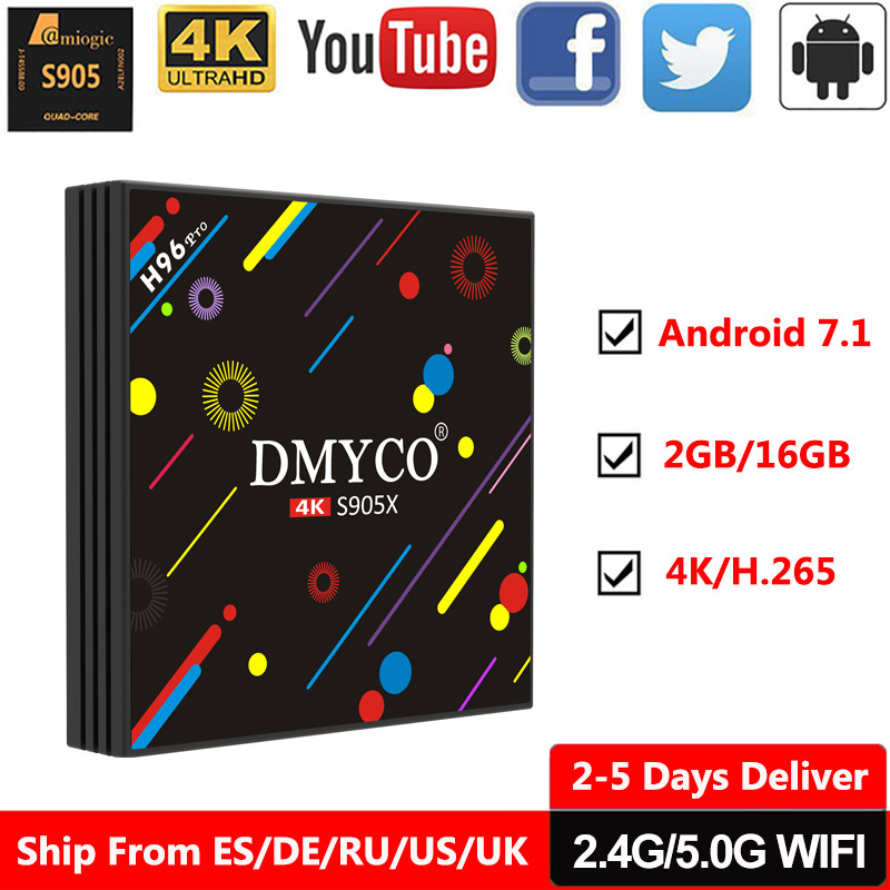 все цены на android tv box H96 Pro android 7.1 OS 2GB RAM 16GB ROM S905X Quad Core TV Streamer Receiver Youtube 2.4G/5G WIFI 4K Media Player