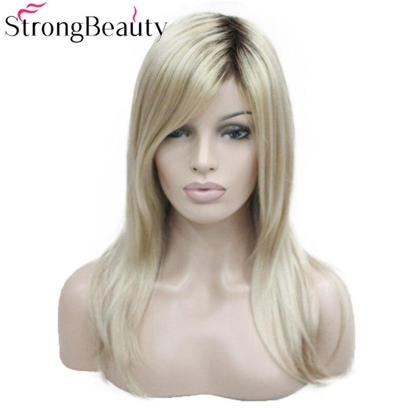 Perruque synthétique pour femmes, longues perruques droites, racines foncées, miel, cheveux blonds, Ombre, perruques naturelles