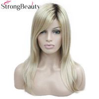 StrongBeauty Long Straight Wigs Women's Synthetic Wig Dark Roots Honey Blonde Hair Ombre Natural Wigs