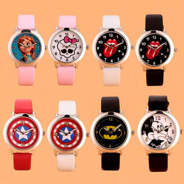 Cartoon mixed style girl boy Batman princess children students girl's leather qu
