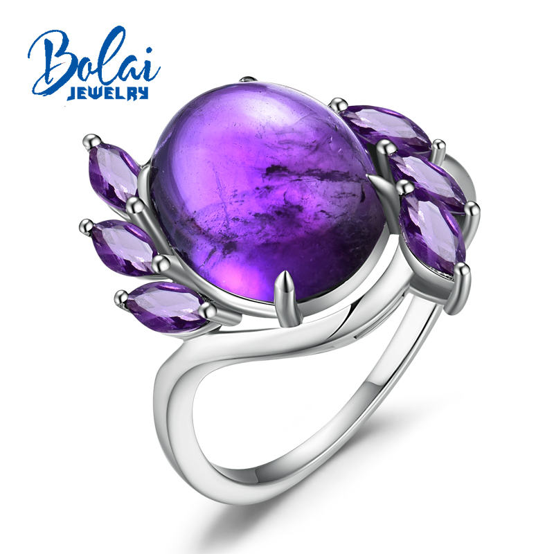 bolai, Fashion special ring with natural african amethyst gemstone in 925 sterling silver fine jewelry for lady best gift.