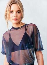 New Women Blouse Sexy Sheer Mesh Fish Net Short Sleeve See Through Top Shirt Blouse tiered mesh sheer blouse
