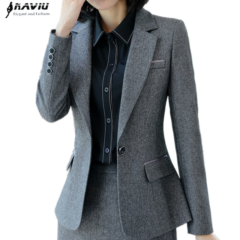 Naviu elegant and fashion women blazers and jackets for office ladies formal outer wear plus size tops(China)