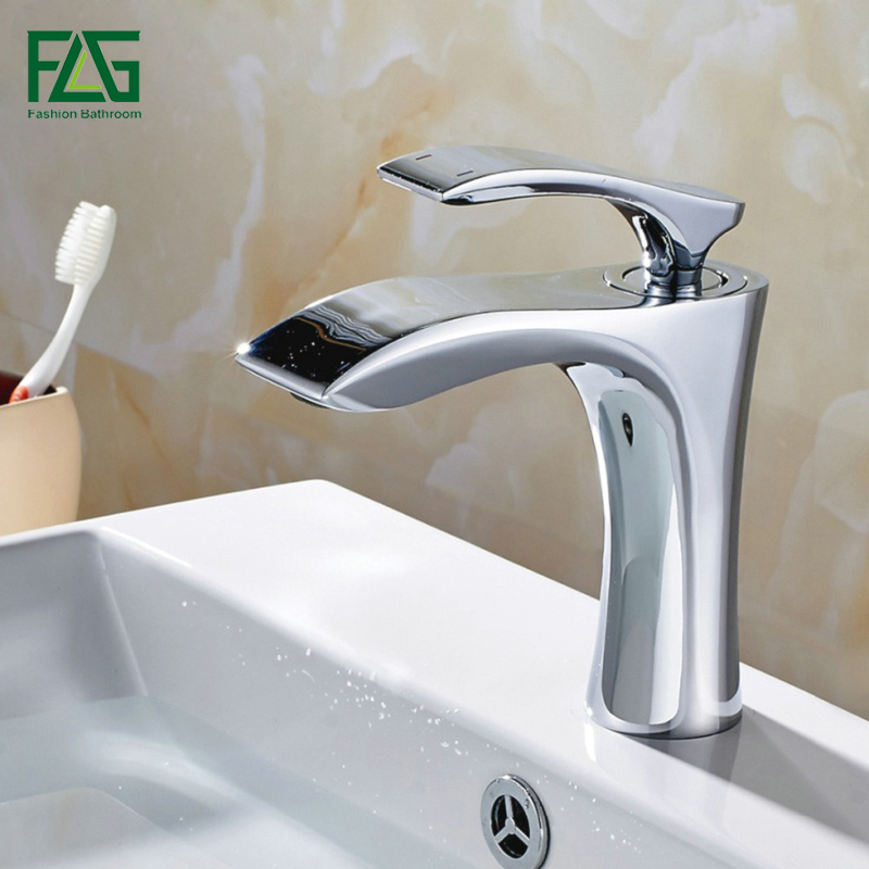 FLG Chrome Solid Brass Bathroom Faucet Cold Hot Water Single Hole Deck Mounted Sink Mixer Single Handle Basin Tap Mixer 245-11FLG Chrome Solid Brass Bathroom Faucet Cold Hot Water Single Hole Deck Mounted Sink Mixer Single Handle Basin Tap Mixer 245-11