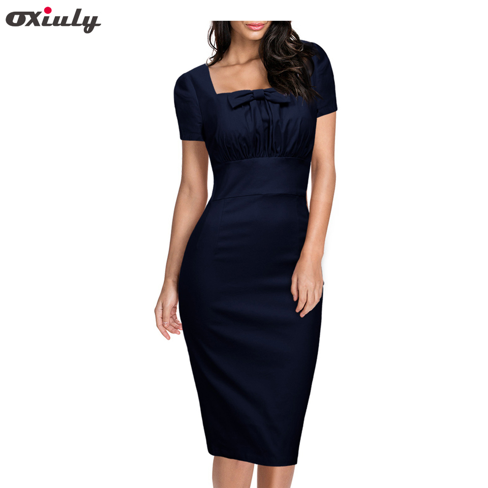 Oxiuly Naised Elegantne Vintage Pin Up Ruched Tunika Ruudukujulise krae äritegevus Casual Work Party Stretch Bodycon pliiatsiga ümbris kleit