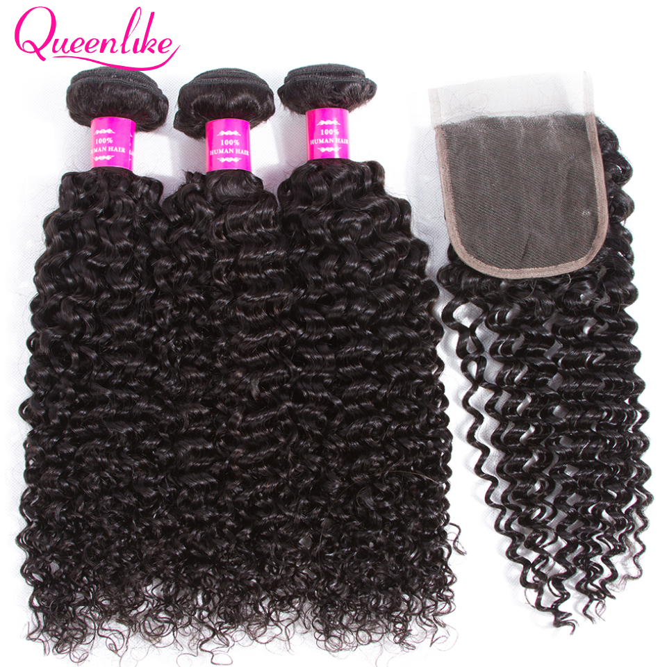 QueenLike Hair Products 3 4 Kinky Curly Bundles With Closure Non Remy Human Hair Weft Weave