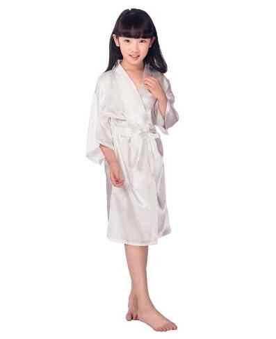 ベビー女の子子供シルクサテン着物ローブバスローブパジャマ結婚式フラワーガールナイトドレス