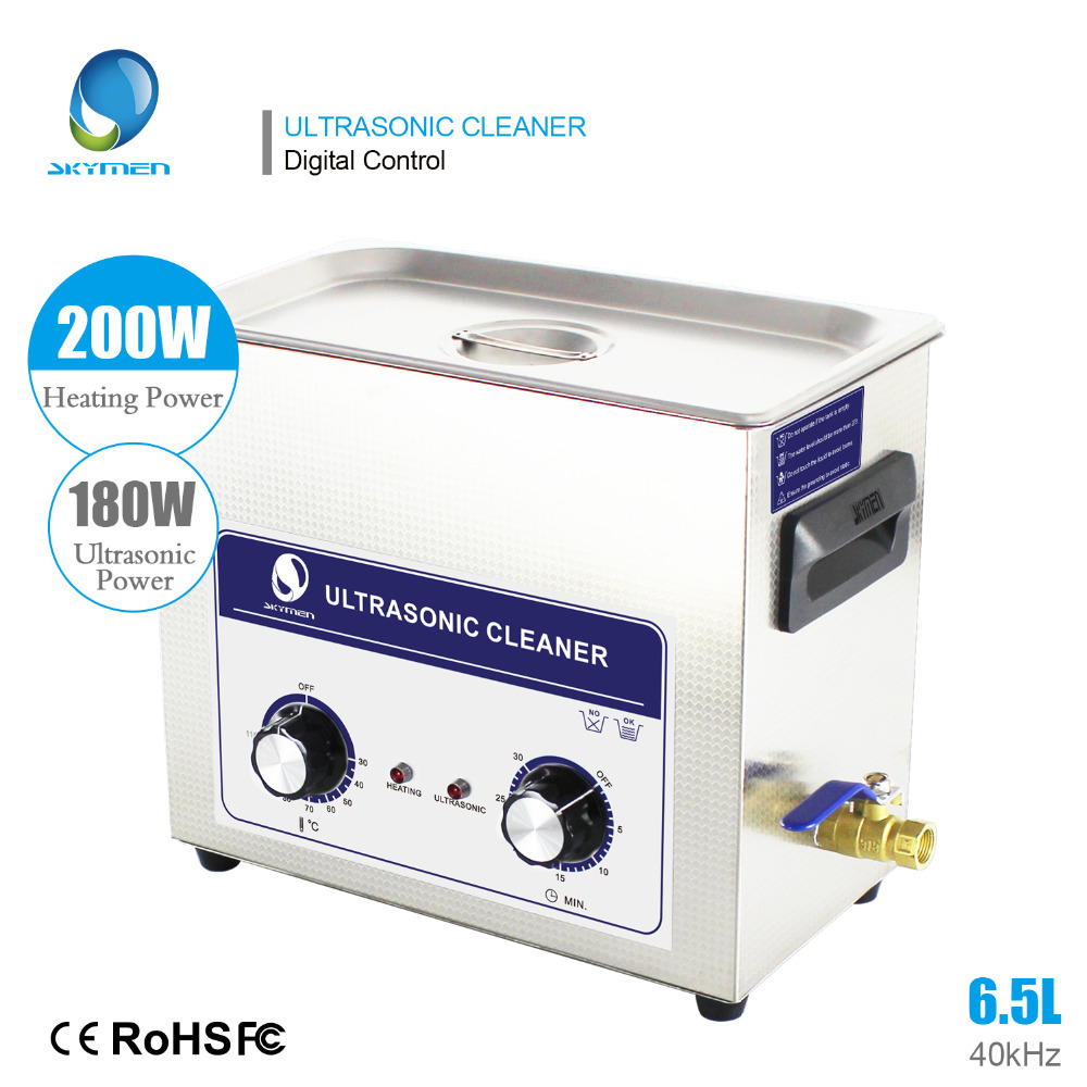SKYMEN 6.5L 180W Ultrasonic Cleaner with Knob Controller Heater Timer Bath Stainless Baskets PCB Boards Metal parts CleaningSKYMEN 6.5L 180W Ultrasonic Cleaner with Knob Controller Heater Timer Bath Stainless Baskets PCB Boards Metal parts Cleaning