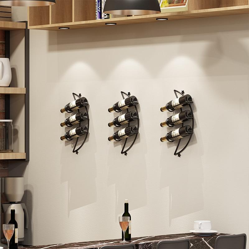 Modern Moon Style Wall Wine Rack Holder Decoration Hanger Iron Art Restaurant