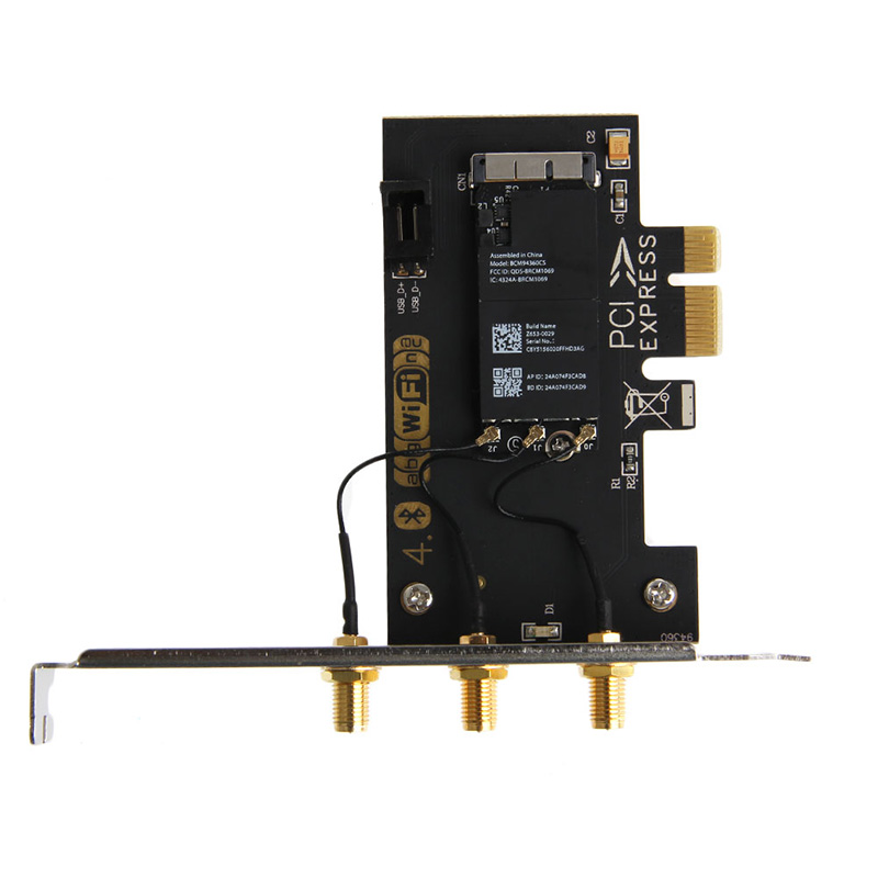 AC 1750M Dual-Band PCI-E BCM94360CS BT4.0 Wireless Wifi Adapter Card W/ Antenna