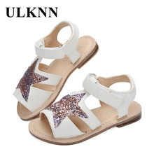 ULKNN Girls Sandals Children Shoes Glitter Star Candy Color White Open-toe  Sandals For School 6b810515c733