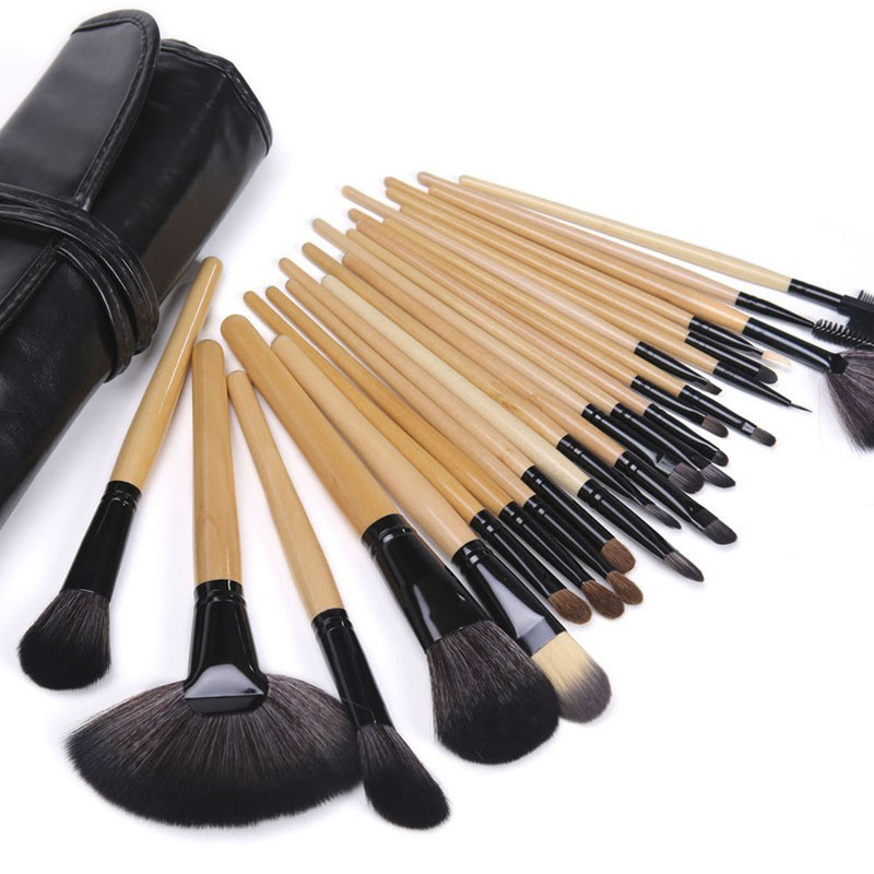 24 Pcs Makeup Brush Sets with Bag for Blending Foundation and Powder Suitable for Contouring and Highlighting 9