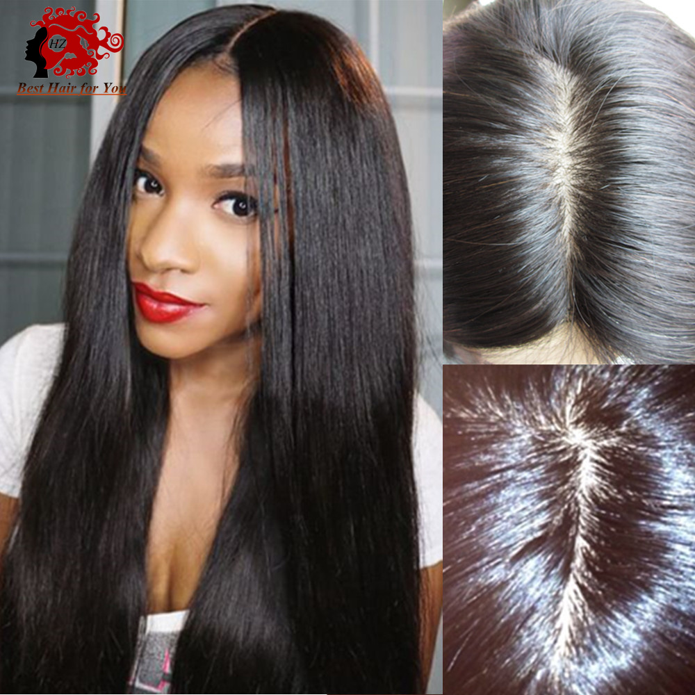 Top quality 4 4 silk top glueless full lace wig with natural hairline  around silky straight peruvian silk top lace front wigs-in Human Hair Lace  Wigs from ... 118335bd9bf2
