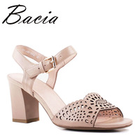 Bacia High Heels Full Grain Leather Shoes Hollow Summer Elegant Apricot Shoes Back Wrap Buckle Pumps