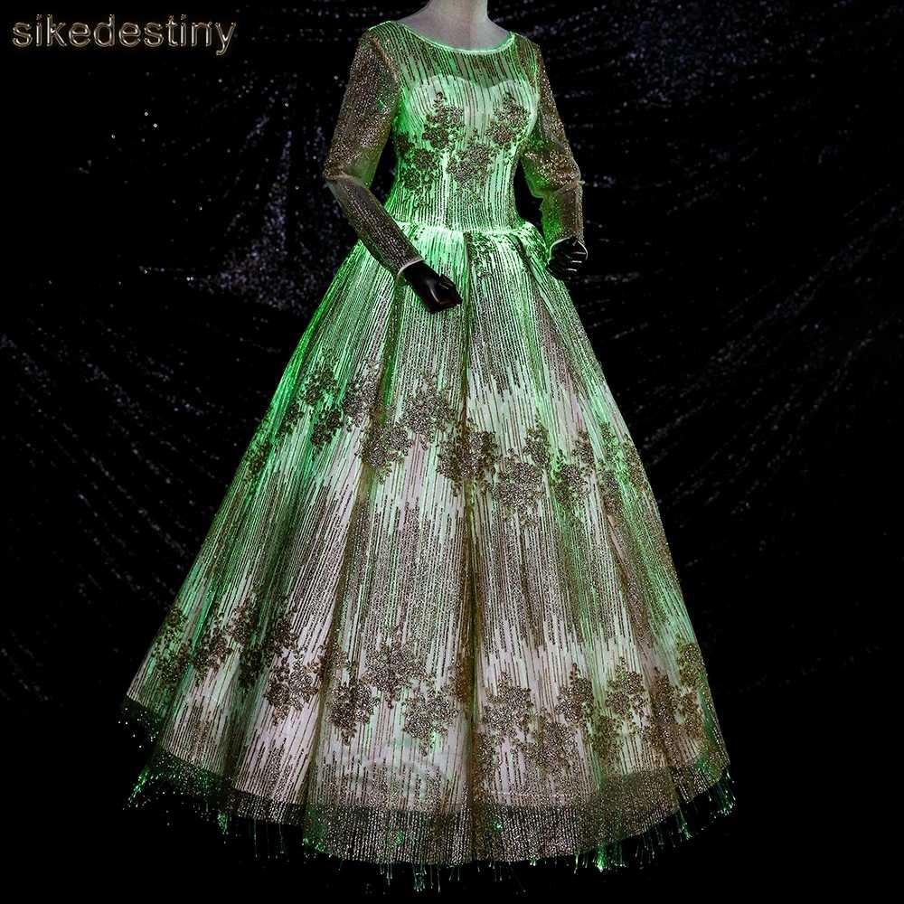9cfa398c94a Luminous Fiber Optic Wedding Dress 2018 Night Glow In Dark Dreamlike LED  Briddal Gown Smart Mobile