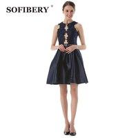 SOFIBERY Vestido designer original Senhoras sem mangas em torno do pescoço das Mulheres bordados oco broca quente vestido das Mulheres vestido S675